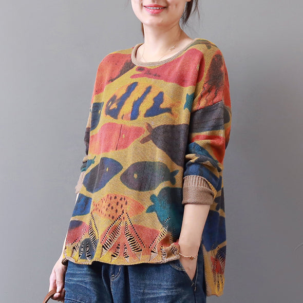 Autumn Khaki Fishes Hollow Out Sweater For Women
