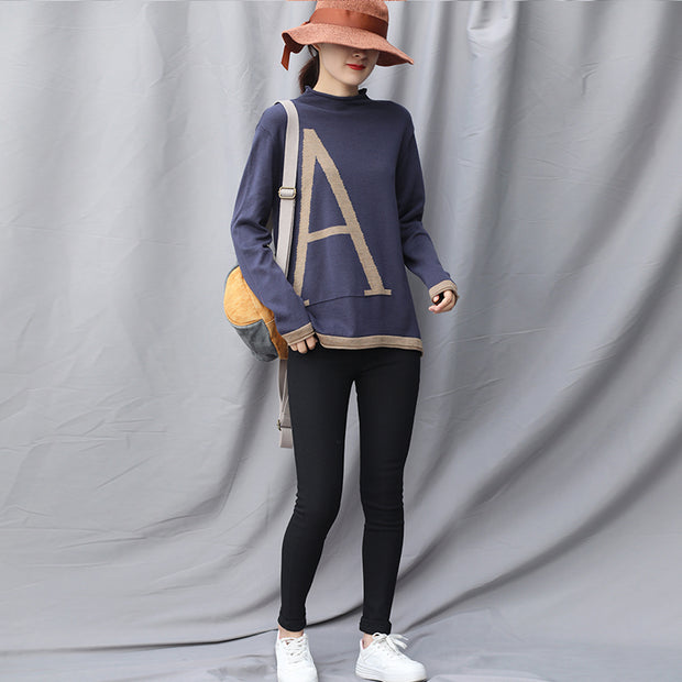Autumn Letter A Casual Thin Sweater