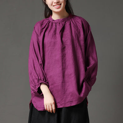 Autumn Linen Long Sleeve Solid Purple Women Blouse