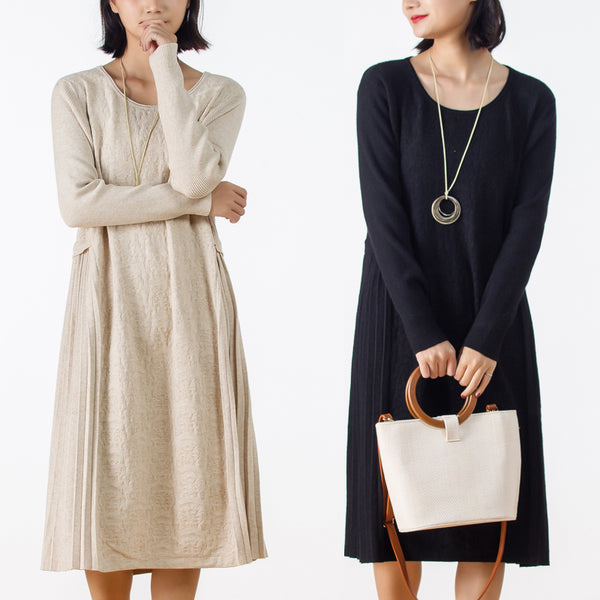 Autumn Long Sleeve Solid Color Sweater Dress