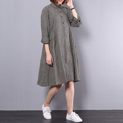 Autumn Loose Cotton Plaid Dress Long Sleeve