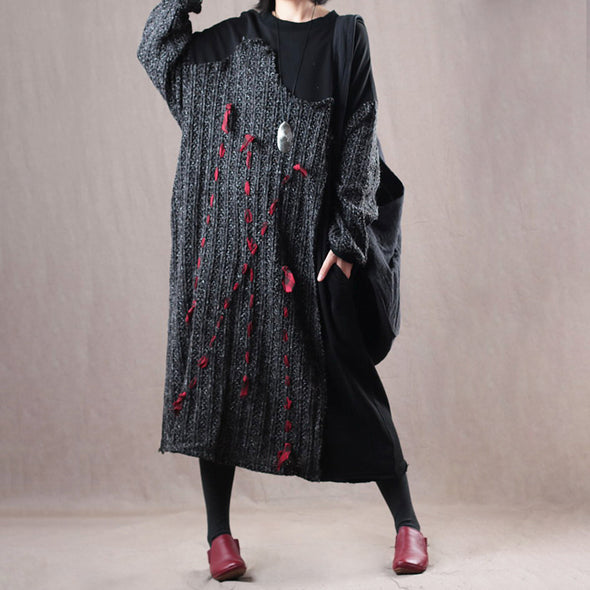 Autumn Loose Patchwork Plus Size Knitting Dress