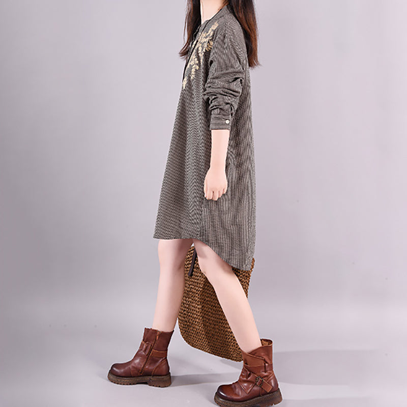 Autumn New Cotton Loose Embroidery Short Dress