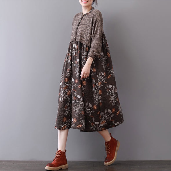 Autumn New Floral Splice Long Sleeve Dress