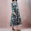 Autumn Print Loose Long Sleeve Linen Dress