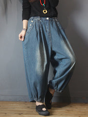 Autumn Retro Casual Pure Color Classic Jeans