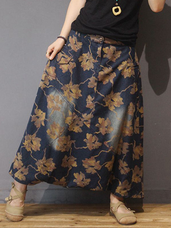 Autumn Retro Denim Printed Loose Culottes
