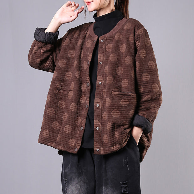 Autumn Retro Dots Warm Comfortable Coat