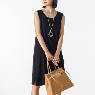 Autumn Retro Sleeveless Knitting Casual Dress
