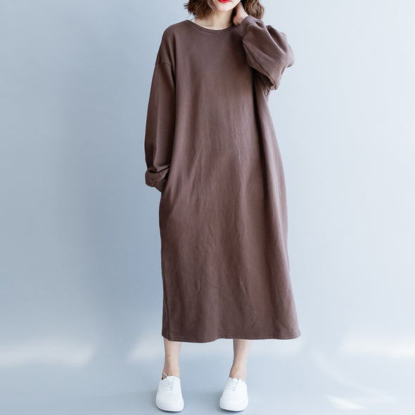 Autumn Simple Coffee Midi Cotton Long Sleeve Dress