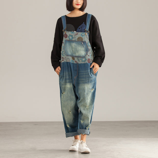 Autumn Vintage Cotton Print Casual Denim Overalls