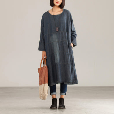 Autumn Vintage Cotton Solid Loose Female Dress