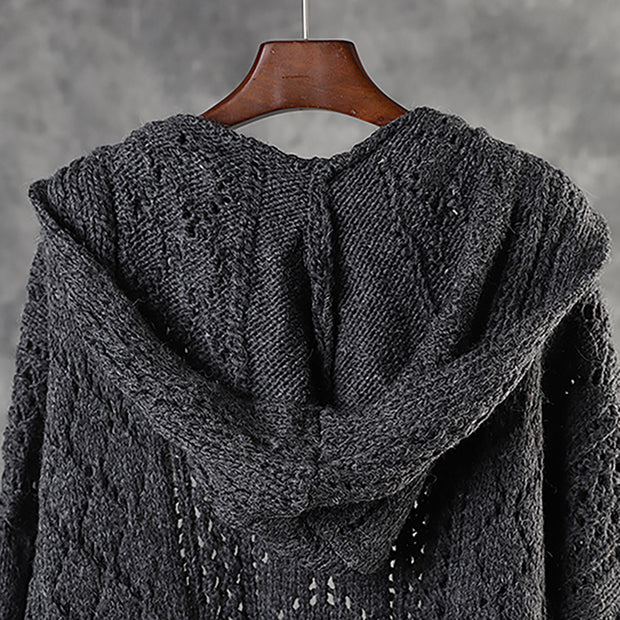 Autumn Winter Hollow Out Hooded Knit Coat