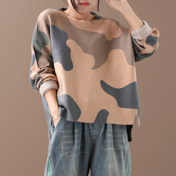 Autumn Winter Loose Camouflage Pullover Sweater