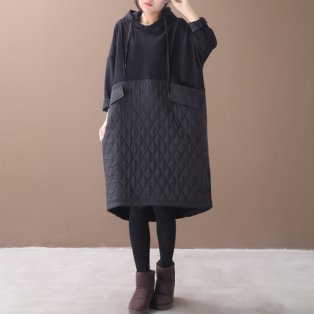 Autumn Winter New Loose Hooded Plus Velvet Dress