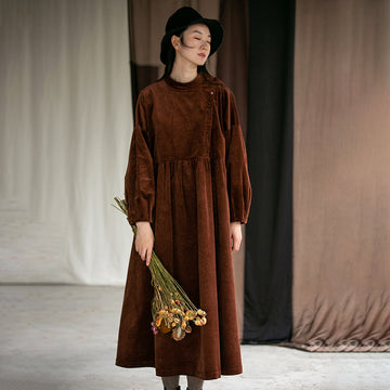 Plus Size - Autumn Winter Pleated Corduroy Dress