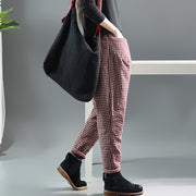 Autumn Winter Retro Plaid Thick Harem Pants