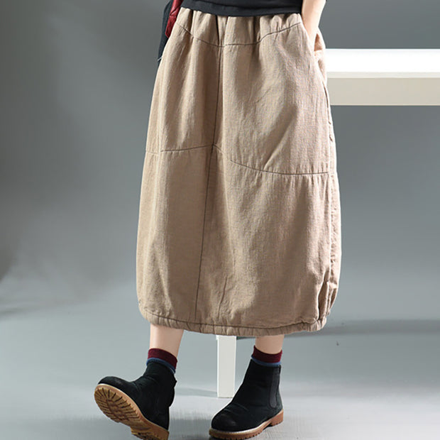 Autumn Winter Simple Pure Color Warm Skirt