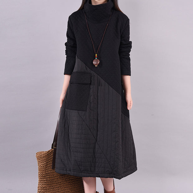 Autumn Winter Simple Stitching Design Casual Dress