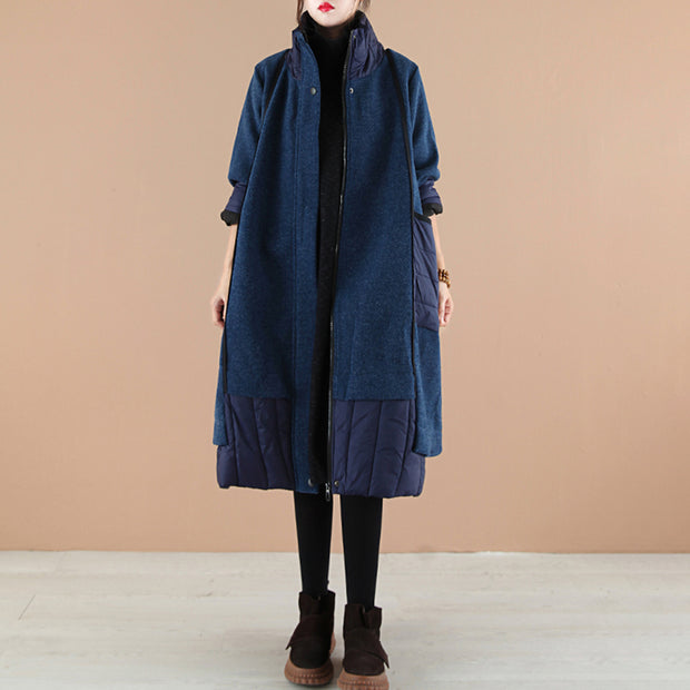 Autumn Winter Stitching Warm Quilted Thick Coat