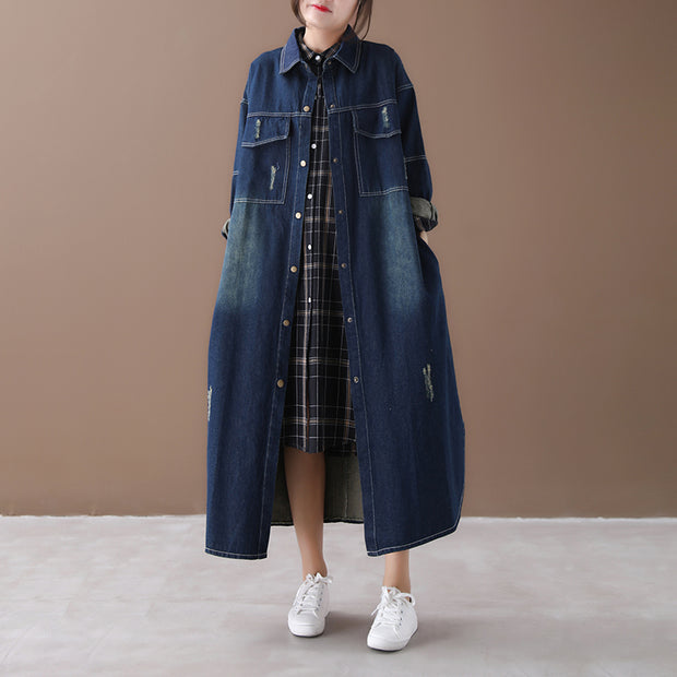 Autumn Women New Denim Long Coat