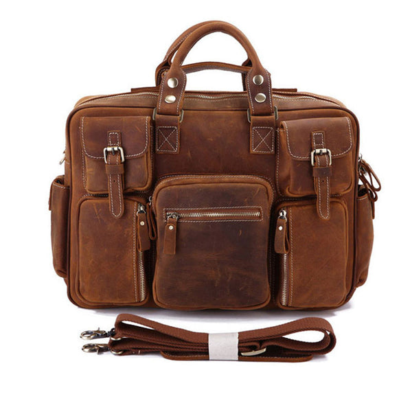Women and man vintage  leather  backpack