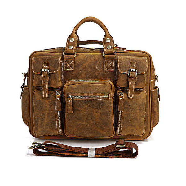 Women and man vintage  leather  backpack - Buykud