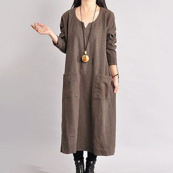 Women Linen Dress Loose Dress Long Sleeve Dress Large Size Dress Spring And Autumn Dress