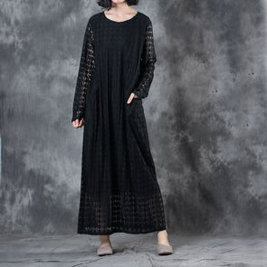Round Neck Lace Long Sleeve Lining Women Black Dress - Buykud