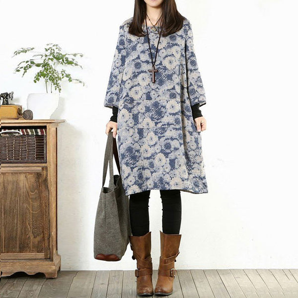 Print Cotton Linen Loose Dress Blue - Buykud