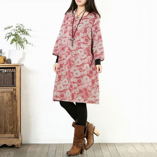 Print Cotton Linen Loose Dress