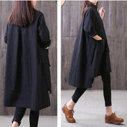 Loose Irregular Stand Collar Long Sleeve Black Shirt - Buykud