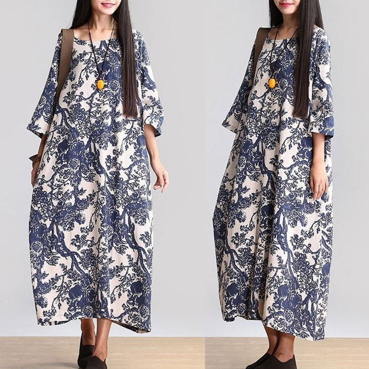 Cotton Linen Loose Fitting Long Maxi Dress Short Sleeve Summer Dresses - Buykud