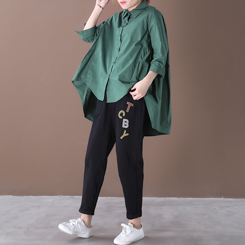 Back Pleated Loose Green Cotton Shirt