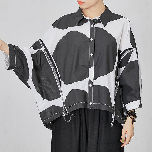 Back Folded Design Drawstring Casual Blouse