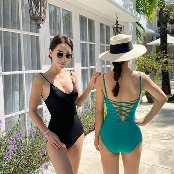 Backless Sexy Solid Color One-Piece Swimwear