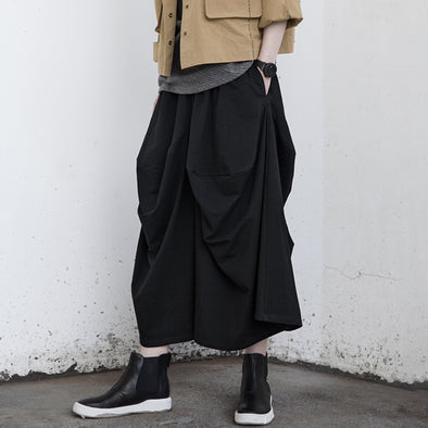 Baggy High Street Black Cotton Fashion Pants
