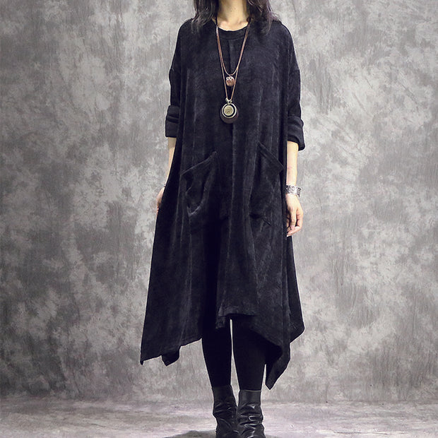 Baggy Solid Irregular Women Pockets Dress