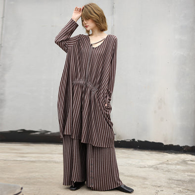 Baggy Striped Long Top and Wide Leg Pants Women Set