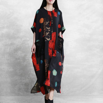 Bat Sleeve Printed Tencel Linen Cocoon-shape Dress