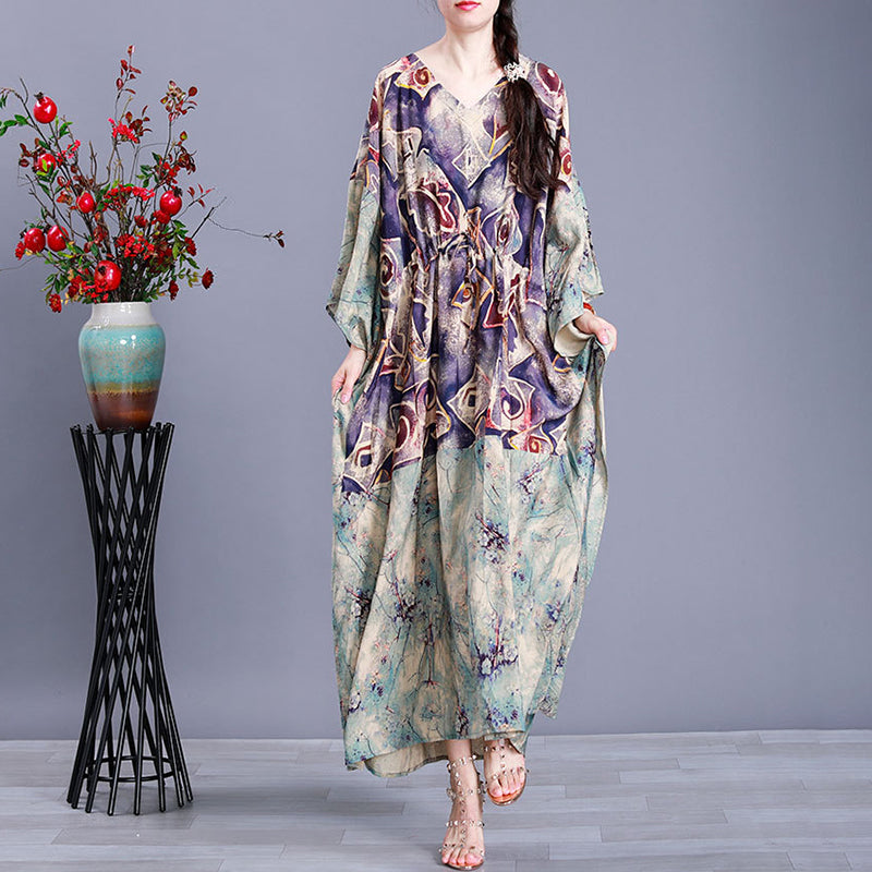 Bat Sleeve Prints Drawstring V-neck Maxi Dress