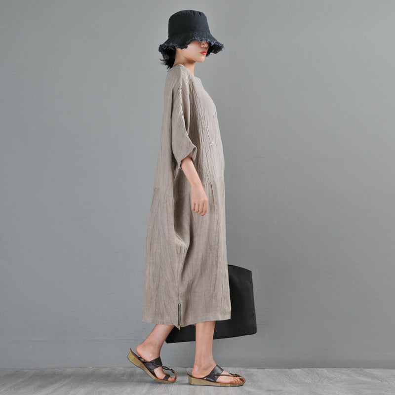 Bat Sleeve Ultra Loose Pure Color Linen Midi Dress