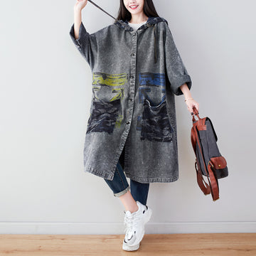 Bat Sleeve Abstract Print Denim Coat