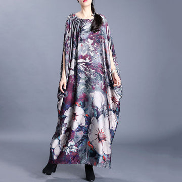Bat Sleeve Floral Pleated Loose Dress