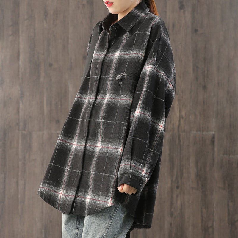 Bat Sleeve Plaid Casual Shirt