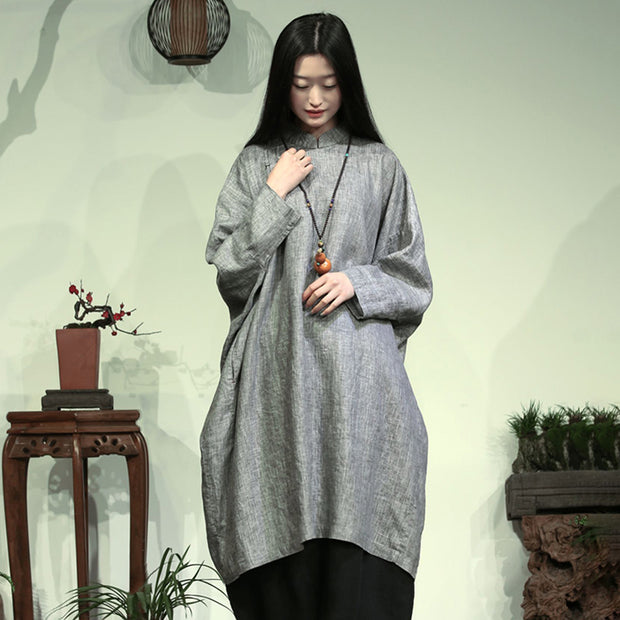 Bat Sleeve Retro Loose Solid Color Dress
