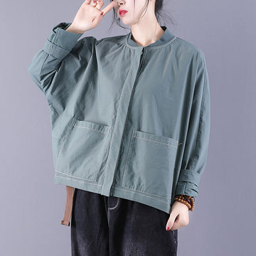 Bat Sleeve Solid Color Stand Collar Top