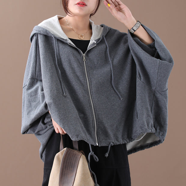 Batwing Sleeve Solid Color Loose Zipper Hoodie