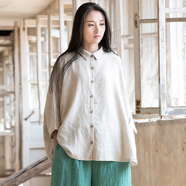 Batwing Sleeve Solid Color Retro Simple Shirt