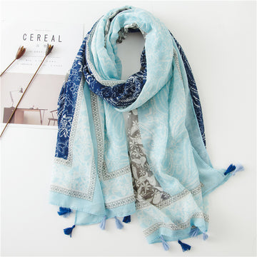 Beach Seaside Sunscreen Floral Tassel Shawl Scarf